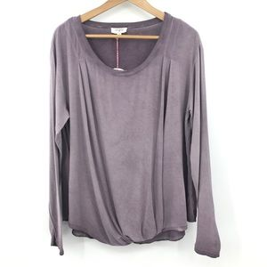 NWT Umgee Scoop Neck Mineral Wash Gathered Top
